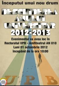 Universitatea Politehnica din Bucureşti: festivitatea de începere a anului universitar, luni în Amfiteatrul AN010 din clădirea Rectoratului