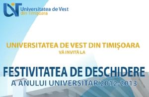 Universitatea de Vest din Timişoara - festivitatea de deschidere a anului universitar 2012-2013