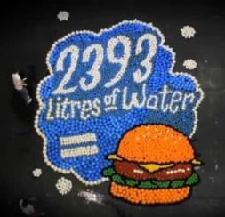 Tu stiai ca este nevoie de 2393 de litri de apa pentru a face un hamburger?